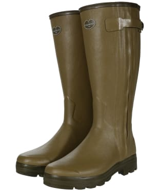 Men's Le Chameau Chasseur Leather Lined Wellingtons - 41cm calf - Green