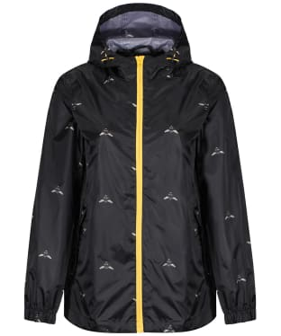 Women's Joules GoLightly Short Waterproof Jacket - Black Botanical Bees