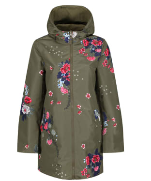 Women's Joules Dockland Reversible Waterproof Jacket - Khaki Floral