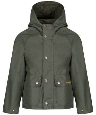 Boy's Barbour Pass Waxed Jacket, 2-9yrs - Light Moss