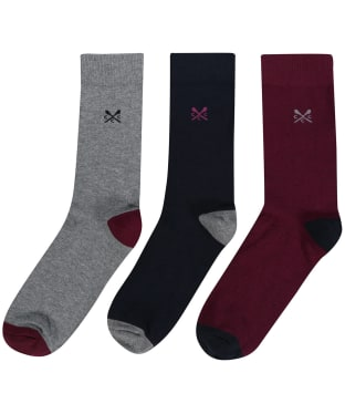 Men's Crew Clothing 3 Pack Socks - Navy Solid Toe Heel