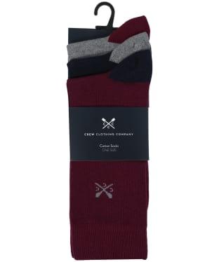 Men's Crew Clothing 3 Pack Socks - Navy Solid Toe Heel