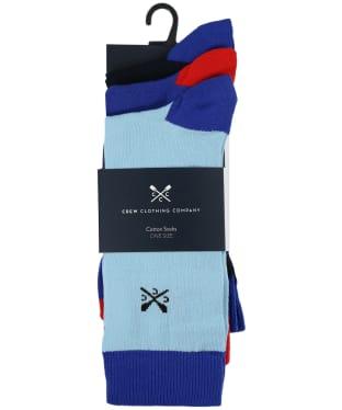 Men's Crew Clothing 3 Pack Socks - Royal Solid Toe Heel