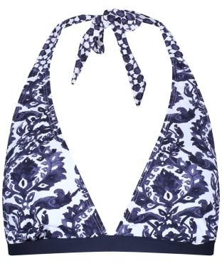 Women's Joules Coraline Halterneck Bikini Top - Navy Damask