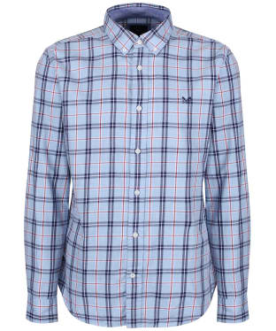 Men's Crew Clothing Anderby Check Shirt - Classic Blue Marl / Henley Red