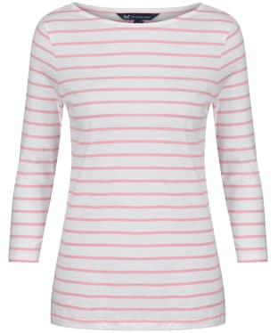 Women's Crew Clothing Essential Breton Top - White / Pink