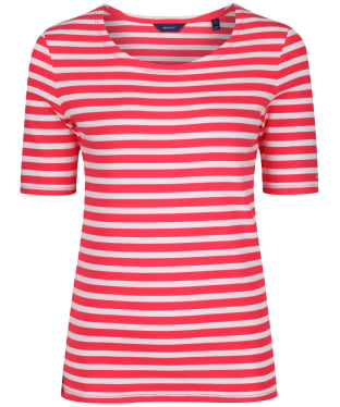 Women's GANT Striped 1X1 Tee - Watermelon Red