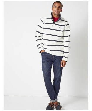 Men's Crew Clothing Padstow Pique Sweatshirt - White / Navy