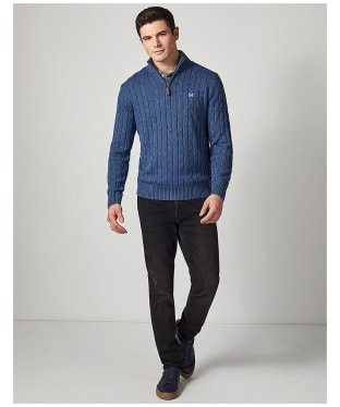 Men's Crew Clothing Regatta ½ Zip Sweater - Blue Indigo Marl