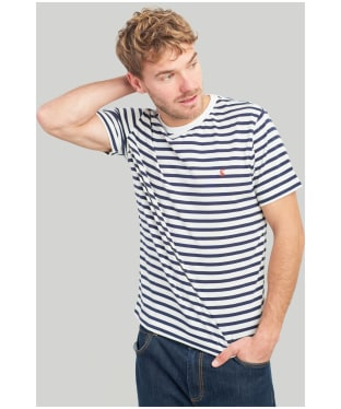 Men's Joules Boathouse Tee - Cream / Navy Stripe