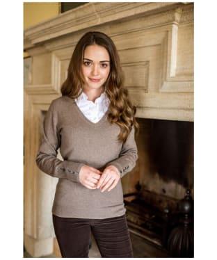 Women's Schoffel Cotton Cashmere V-Neck Sweater - Mink
