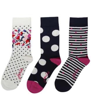 Women's Joules Brilliant Bamboo 3-Pack Socks - NAVY MULTI FLOR