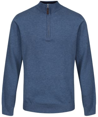 Men's Schoffel Merino ¼ Zip Jumper - Stone Blue