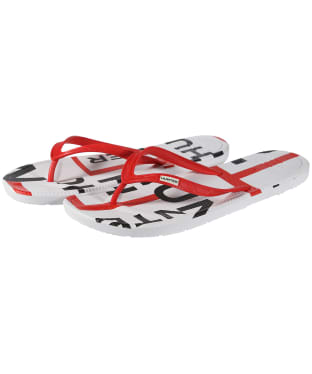 Men's Hunter Original Exploded Logo Flip Flops - Hunter Red