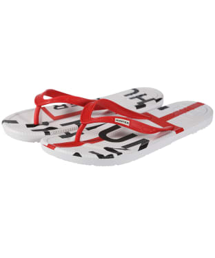 Women's Hunter Original Exploded Logo Flip Flops - Hunter Red