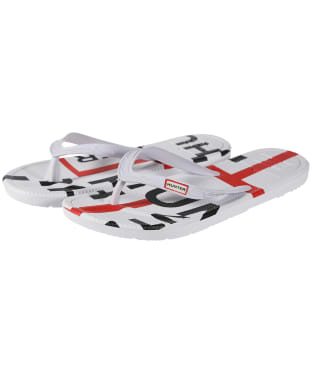 Women's Hunter Original Exploded Logo Flip Flops - Hunter White