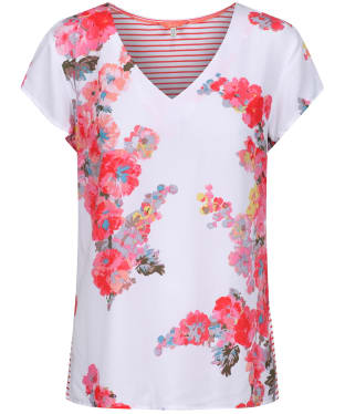Women's Joules Harriett V-Neck T-Shirt - White Floral