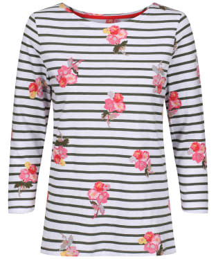 Women's Joules Harbour Light Printed Top - Khaki Posy Stripe