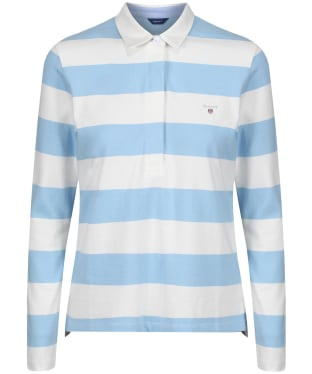 Women's GANT Barstripe Rugger Polo Shirt - Capri Blue