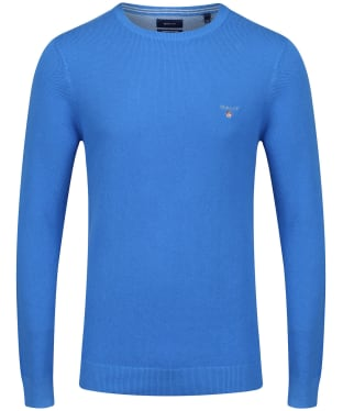 Men's GANT Piqué Crewneck Sweater - Palace Blue