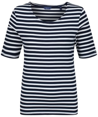 Women's GANT Striped 1X1 Tee - Evening Blue