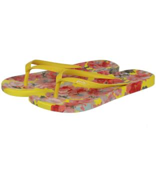Women's Joules Flip Flops - Yellow Floral