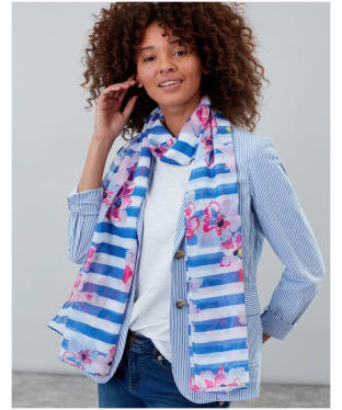 Women's Joules Wensley Scarf - Blue Stripe Floral
