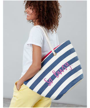 Women's Joules Seaside Bag - Cream Stripe So Busy