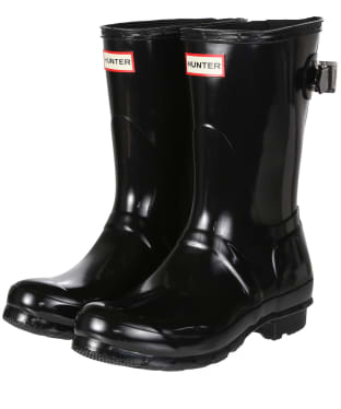 Women's Hunter Original Back Adjustable Short Gloss Wellington Boots - Black