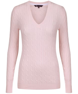 Women's Crew Clothing Summer Heritage Cable Jumper - Soft Classic Pink