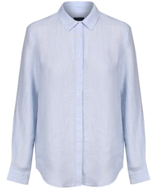 Women's Crew Clothing Striped Linen Shirt - Serene Blue