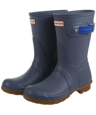 Women's Hunter Original Seaton Short Wellington Boots - Gull Grey / Bucket Blue / Gum