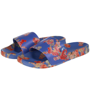 Women's Joules Poolside Printed Sliders - Blue Floral