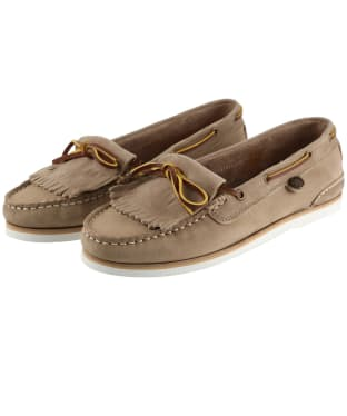 Women's Barbour Ellen Nubuck Boat Shoes - Stone
