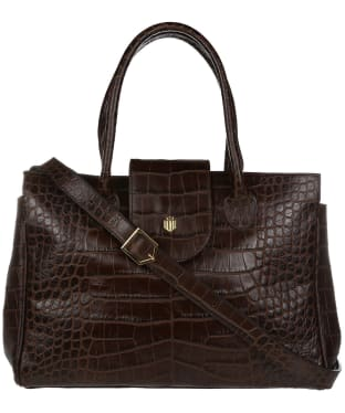 Women's Fairfax & Favor Langley Handbag - Chocolate Croc Leather