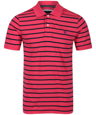 Men's Crew Clothing Narrow Stripe Polo Shirt - Summer Pink / Navy