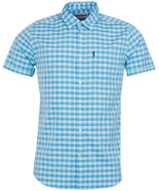 Men's Barbour Gingham Short Sleeved Tailored Shirt - Mint