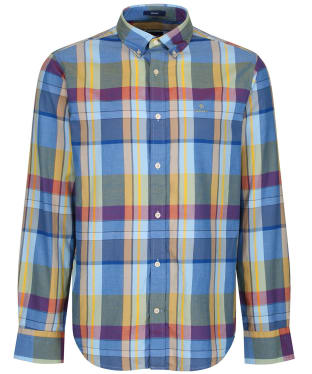 Men's GANT Oxford Madras Shirt - Lake Blue