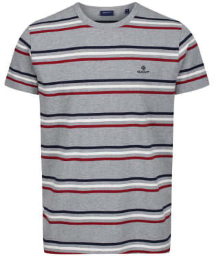 Men's GANT Heavy Jersey Striped T-Shirt - Grey Melange