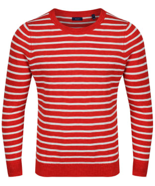 Women's GANT Striped Crew Sweater - Blood Orange