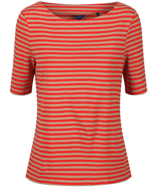 Women's GANT Boatneck Striped Top - Blood Orange