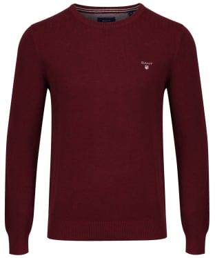 Men's GANT Piqué Crewneck Sweater - Bordeaux Melange
