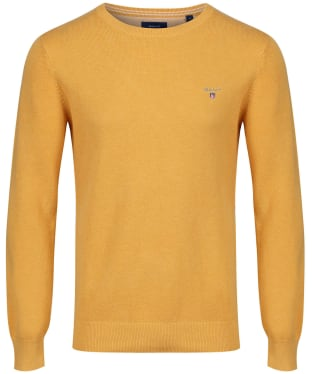 Men's GANT Piqué Crewneck Sweater - Golden Yellow Melange