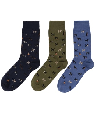 Men's Barbour Dog Motif Sock Gift Box - Blue / Olive