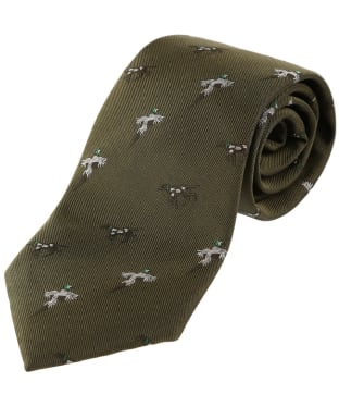 Men's Alan Paine Ripon Silk Tie - Bird & Dog - Olive