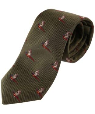 Men's Alan Paine Ripon Silk Tie - Flying Pheasant - Olive