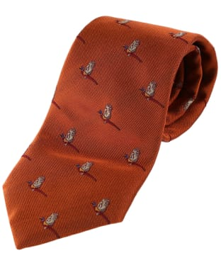 Men's Alan Paine Ripon Silk Tie - Flying Pheasant - Rust