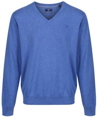 Men's GANT Lightweight Cotton V-Neck - Blue Melange