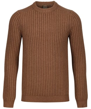 Men's Musto Crew Neck Ribbed Knit Sweater - Toffee