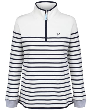 Women's Crew Clothing Half Zip Sweatshirt - White / Navy